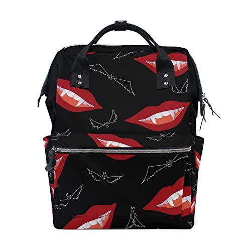 Vampire Lips Bat Diaper Bag Backpack for Mom Large Unisex Nappy Bags Baby Care Travel Backpack Outdoor School Laptop Bag