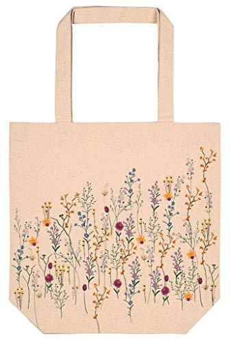 moses. Shopper aus Bio-Baumwolle | Tragetasche mit Blumenmotiv | Praktisch als Einkaufs- und Freizeittasche | Blumenwiese