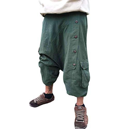 Frauen Männer Haremshosen mit Taschen hoch taillierte Hip Hop Baggy Pants Retro Yoga Aladdin Hosen Bloomers Plus Size (Grün, L/XL)