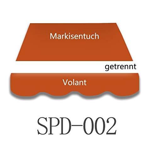 Home & Trends Preiswert Markisen Tuch Markisenbespannung Ersatzstoffe Diverse Fraben Maße 4 x 3 m Markisenstoffen inkl. Volant fertig genäht mit Bordeux (SPD002)