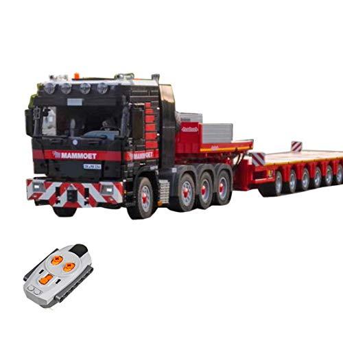 PEXL Technik LKW mit Anhänger, 6253 Klemmbausteine und 7 Motoren Bausteine Bausatz, Technic Ferngesteuert LKW mit Tieflader MOC Custom Bausteine