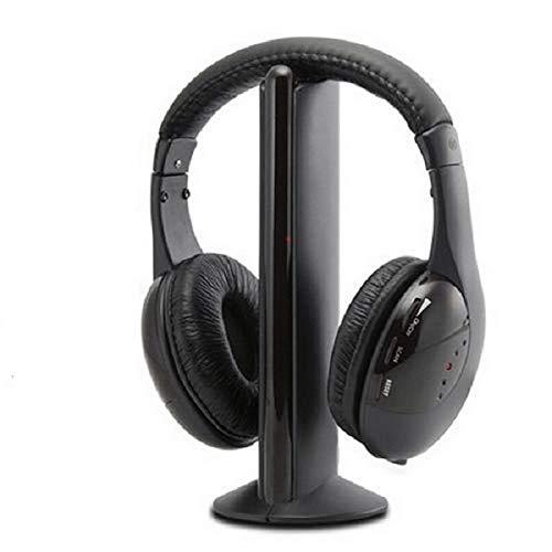 Auriculares inalambricos 5 en 1 para HDTV, TV, VCD, PC, MP3, MP4, CD, DVD Smartphone con Radio FM Auricular + Micrófono Inalámbrico
