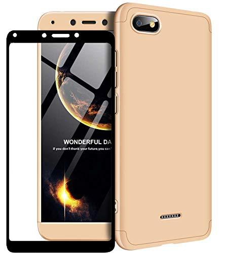 1stfeel Funda Compatible Xiaomi Redmi 6A 360°Caja Caso + Vidrio Templado, 360 Grados Integral para Ambas Caras + Cristal Templado Hard Skin Carcasa Case,Oro