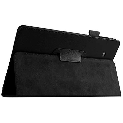 Ebogor para Para Samsung Galaxy Tab E 9.6 / T560 / T561 Caso, Funda de Cuero de Color sólido de Litchi Texture Horizontal Flip con Titular (Negro) (Color : Black)