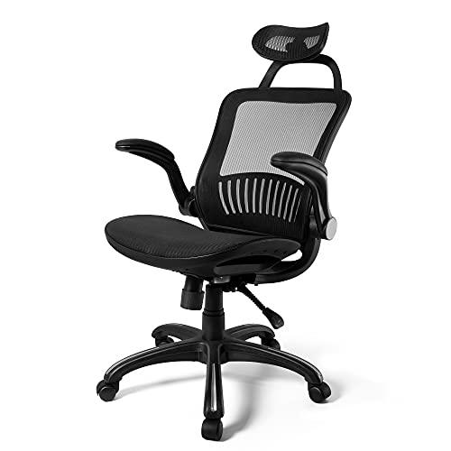 KOLLIEE Ergonomic Mesh Office Chair High Back Reclining Black Swivel Computer Desk Chair with Adjustable Headrest Lumbar Support Flip Up Arms Adjustable Height Office Task Chair
