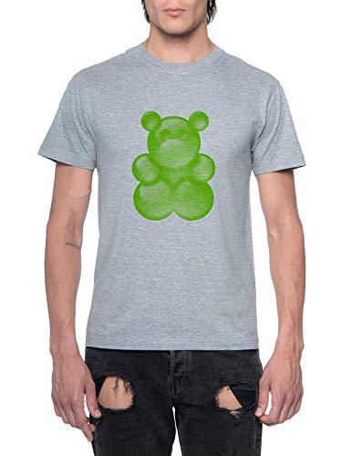 Fioze Verde Pegajoso Oso Hombres Camiseta Cuello Rendono Gris Mens T-Shirt Grey