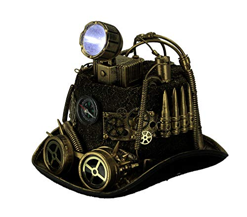 Steampunk Top Hat with LED Miner Light Compass and Goggles Gold