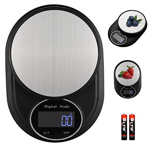 KINLO Küchenwaage Digitalwaage elektronische Waage hohe Präzision auf bis zu 1g, 5kg Maximalgewicht Haushaltswaage mit leuchtende LCD-Anzeige, Essenswaage mit Edelstahl Wiegefläche Inkl. Batterien