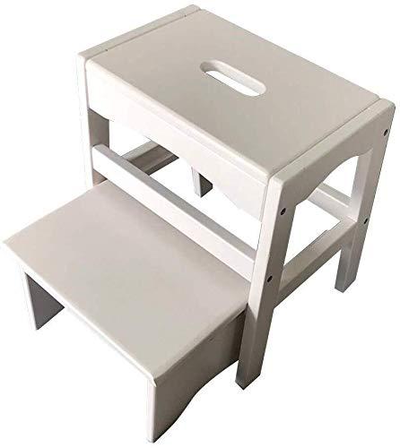 CHGDFQ Taburete simple de 2 niveles para escaleras, de madera maciza, taburete para adultos y cambio de zapatos (color: blanco)