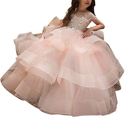 Hengyud Long Girls Pageant Dresses 7 16 Organza Princess Cap Sleeves Kids Prom Puffy Ball Gowns product image
