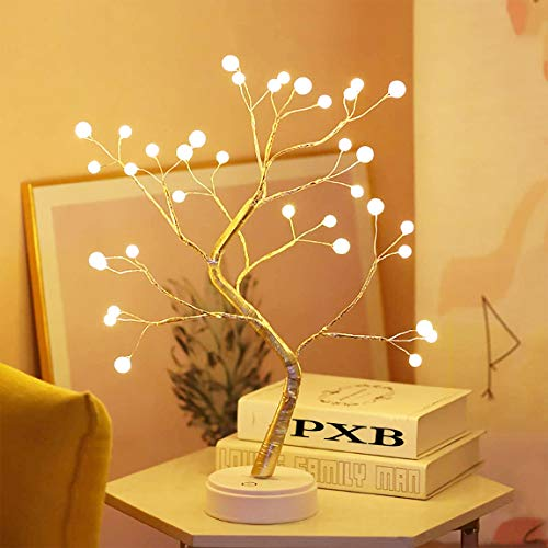 PXB 20' Tabletop Bonsai Tree Light with 36 Pearls LED, DIY Artificial Lamp Tree Lamp Decoration, Battery/USB Operated, for Bedroom Desktop Christmas Party Indoor Decoration Night Light (Warm White)
