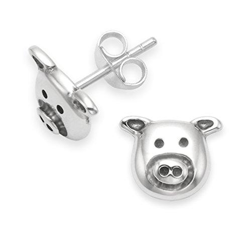 Pendientes colgantes en forma de cabeza de cerdo en plata de ley. Tamaño: 7mm. Pendientes en forma de cabeza de cerdo presentados en caja de regalo. Modelo 5115 L.