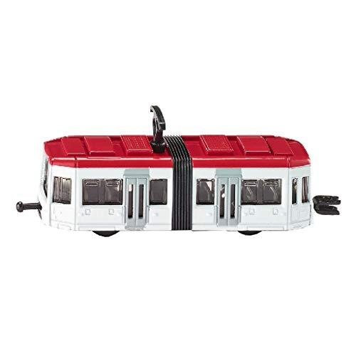 SIKU 1011, Straßenbahn, Metall/Kunststoff, Weiß/Rot, Standard-siku-Eisenbahnkupplungen zum Verbinden mit anderen Zügen
