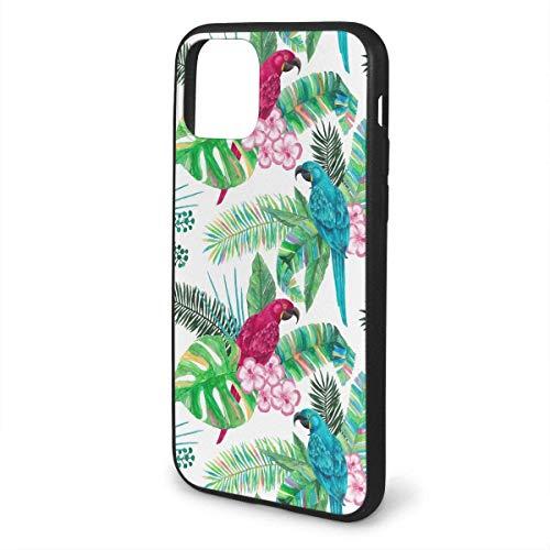 N/A iPhone 11 hoesje papegaai en plant siliconen gel rubberen beschermhoes voor iPhone 11