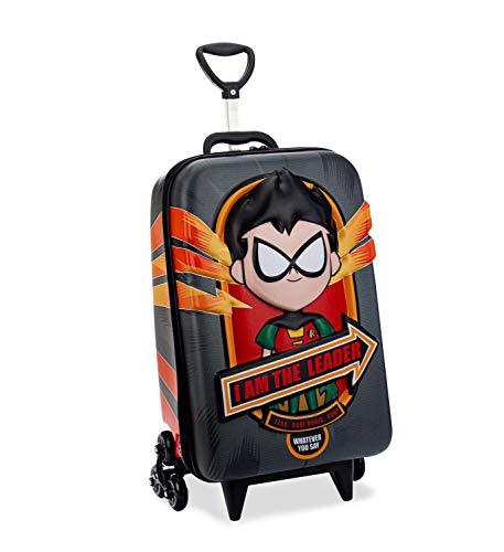 Mochila Escolar 3D com 6 Rodinhas Teen Titans Robin - Maxtoy