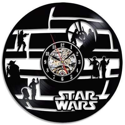 wtnhz LED Reloj de Pared de Vinilo Colorido Reloj de Pared con Disco de Vinilo Retro diseño Moderno Pegatinas 3D Creativas Reloj de Pared con Tema de película decoración del hogar