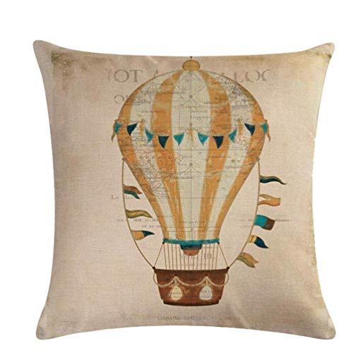 Funda de cojín retro con diseño de globo de aire caliente, funda de almohada de lino para cama, habitación, coche, cómoda y práctica