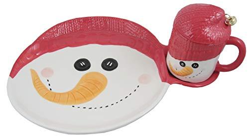 Transpac Imports, Inc. Christmas Eve Santa Cookies and Milk Platter, 12.5 x 9.25 x 5.75, Multicolor