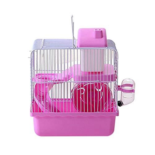 TOPmountain Jaula de Viaje de 2 Niveles Hamster, Hábitat de hámster con Rueda de hámster, Botella de Agua y escondite, Portador portátil para Animales pequeños (Rosado)