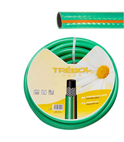 """SATURNIA 8070662 Manguera Verde Trebol Trenzado 15 mm. - 5/8"""" Rollo 50 Metros"""