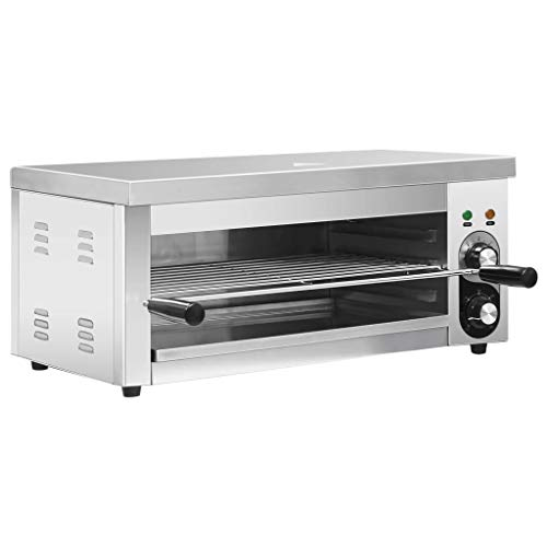vidaXL Elektrisches Überbackgerät Salamandergrill Salamander Hähnchen Spareribs Pizza Backofen Grill-Ofen Gastro Gastronorm 2500W Edelstahl