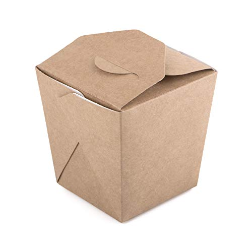 Paquete de 35 cajas de cartón kraft para fideos de 560 ml, contenedor de comida rápida para llevar, caja china desechable a prueba de fugas, biodegradable, ecológica, reciclable (35, 560 ml)