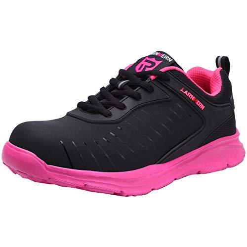 [LARNMERN] 超軽量 安全靴 鋼製先芯 レディース 作業靴 おしゃれな安全靴 スニーカー つま先保護 セーフティー 撥水 ワーク シューズ 通気性 衝撃吸収 通動靴 作業服(ローズレッド-撥水,24.0cm)