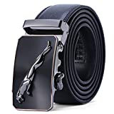 Cinturón Hombre Cuero Genuino Jaguar Cinturones Piel con Hebilla Automática Trajes De Negocios 1.5'' (38mm) Anchura,Hermosa Caja de Regalo (Tamaño de la cintura 34'-36', cinturón 43'(110 c, Negro)