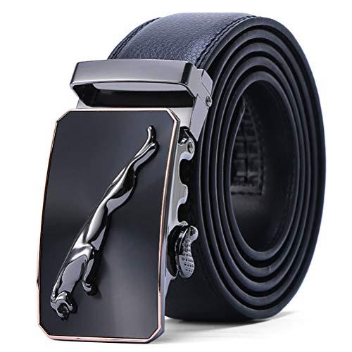 Cinturón Hombre Cuero Genuino Jaguar Cinturones Piel con Hebilla Automática Trajes De Negocios 1.5'' (38mm) Anchura,Hermosa Caja de Regalo