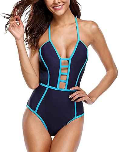Jeatyuen Trajes de baño sexy de una pieza con cordones para mujer, monokini entrecruzado, traje de baño con tiras cruzadas, Azul / Patchwork, X-Large