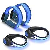QLOUNI Ensemble 4pcs Bracelet à LED et Clip à Chaussures à LED, Brassard LED, lumière de sécurité réfléchissante Lumineuse...