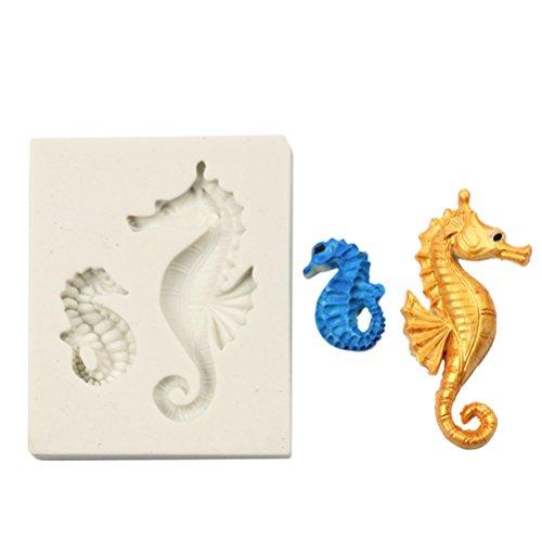 Monbedos 3D Hippocampe Forme Moule en Silicone Moule à Cake Décoration Moule à gâteau Lcing Moule Outils Taille 6* 5cm