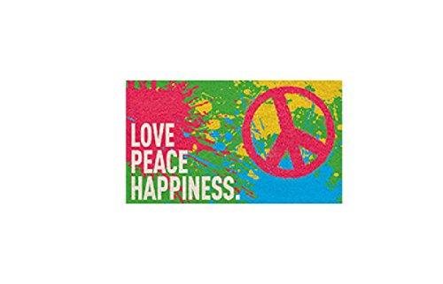 Paillasson en coco - Modèle Peace - Love Peace Happiness - Dimensions : 40 x 60 cm