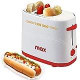 Bakaji Macchina Per Hot Dog con Alloggio Wurstel e Pane Potenza 650W Hotdog Maker 5 Livelli di Cottura per Casa Party Feste Max