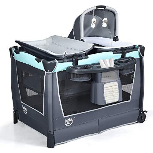 COSTWAY 4 in 1 klappbares Reisebett & Wickeltisch & Laufstall & Babywiege mit Schaukelfunktion, inkl. Babykorb, Wickelauflage, Matratze, Spieluhr, Spielzeug, Aufbewahrungsregal und Tragetasche (Grün)