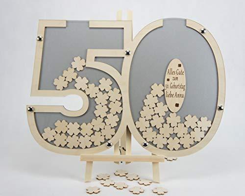 Laserano Gästebuch 50. Geburtstag personalisierbar (Silber) 60x40cm