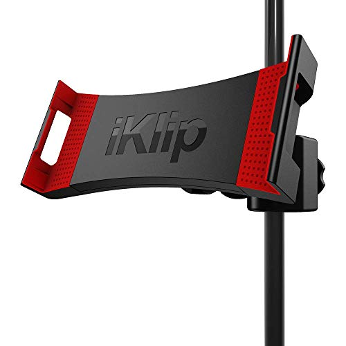 IK Multimedia iKlip 3 Supporto Universale per Microfono per Tablet da 7' a 12,9' con o Senza Protezione, Supporto per iPad, Nero