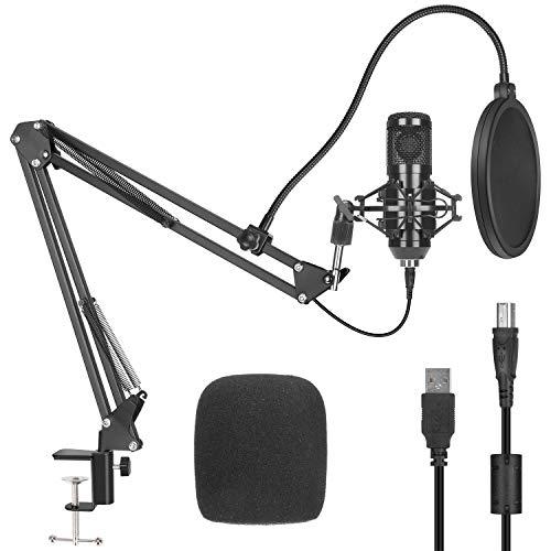USB Kondensator Mikrofon Kit, PEMOTech Podcast Nieren Mikrofon 192kHZ/24bit Professionelle Microphone mit Pop Filter Arm Ständer Shock Mount für Aufnahme Gaming Studio YouTube Streaming Rundfunk