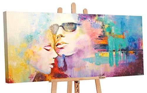 YS-Art | Cuadro Pintado a Mano Acrílico Idilio | Cuadro Moderno acrilico | 115x50 cm | Lienzo Pintado a Mano | Cuadros Dormitories | único | Multicolor
