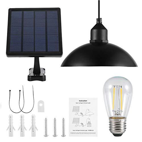 ソーラーパワーのペンダントライト、メタルシェードソーラーパワーのペンダントライトE27電球屋外ハンギングシェッドランプ