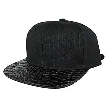 XUAN SUN Snakeskin Faux Leather Brim Snapback Hat Women Unisex Adjustable Metal Buckle Hip Hop Crocodile PU Baseball Cap Men  All Black