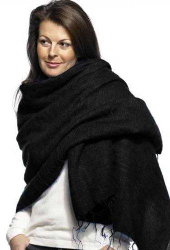 Schal/Stola, 100% Fairtrade-Yak-Baumwolle Gr. Einheitsgröße, schwarz