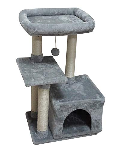 FISH&NAP US11H Cat Tree Cat Tower Cat Condo Sisal Scratching Posts with Jump Platform Cat Furniture Activity Center Play House Grey