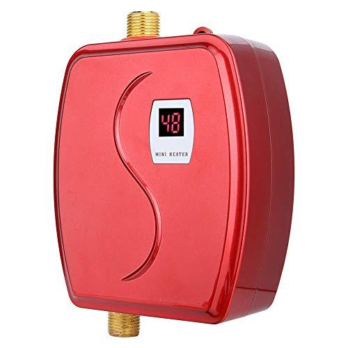 Calentador de agua electrico sin tanque, mini calentador de agua instantaneo de 220V 3800W con sensor de temperatura integrado, boton tactil para ducha en el bano (UE)(rojo)