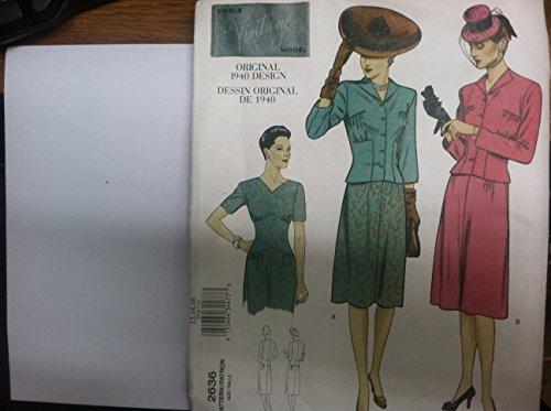 Vouge Schnittmuster 2636Größe 12,14,16–Vouge Vintage Model Orignal Design 1940