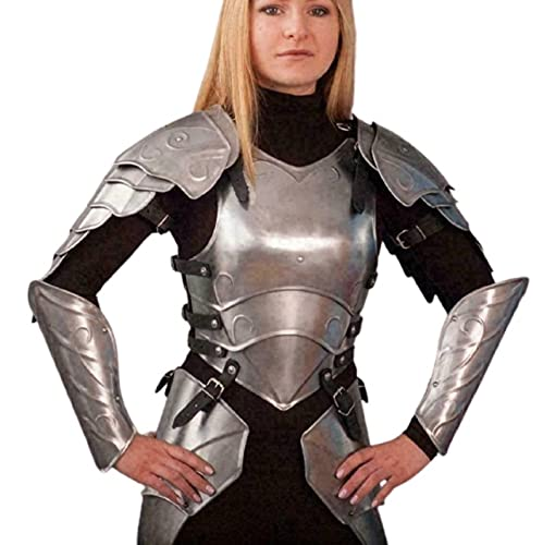 Disfraz de caballero medieval de fantasa femenina armadura de acero, traje de armadura de traje de coraza de seora, traje de armadura de cruzado de acero suave femenino LARP