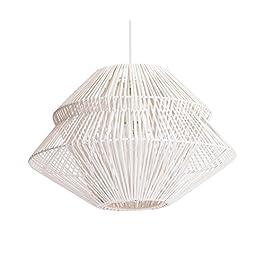 Luminaire Anoki, suspension rotin, 40 W, gris/blanc, ø 45 x H 33 cm