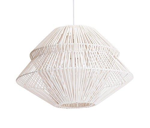 Luminaire Anoki, suspension rotin, 40 W, blanc, ø 45 x H 33 cm