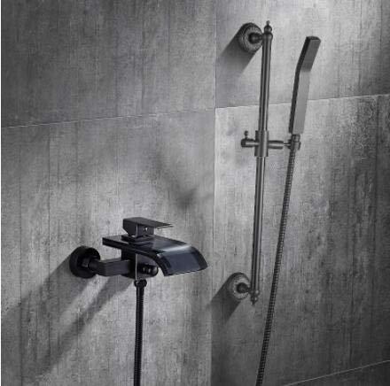 ZHXIFE Grifo de la bañera Set de grifería de bañera frotada con Aceite Negro montado en la Pared con baño de Mano y Amplificador; Mezclador de Ducha Rociador Grifo de Cascada