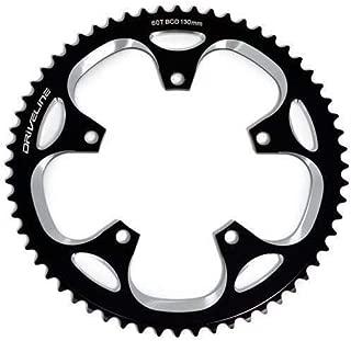 BCD 130mm Black x White Driveline AL7075 Road Bike Bicycle TT Chainring 56T